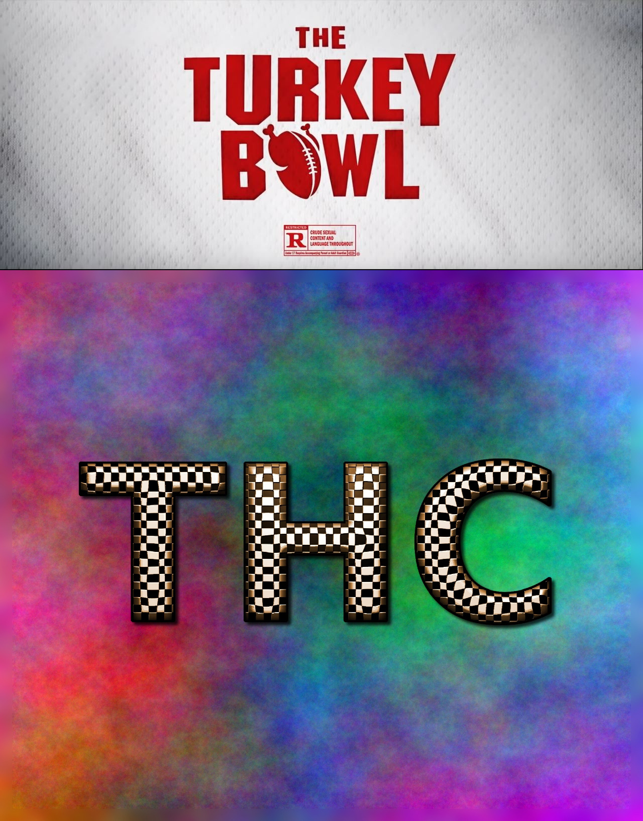 (Top) The Turkey Bowl title screenshot. (Bottom) THC graphic.