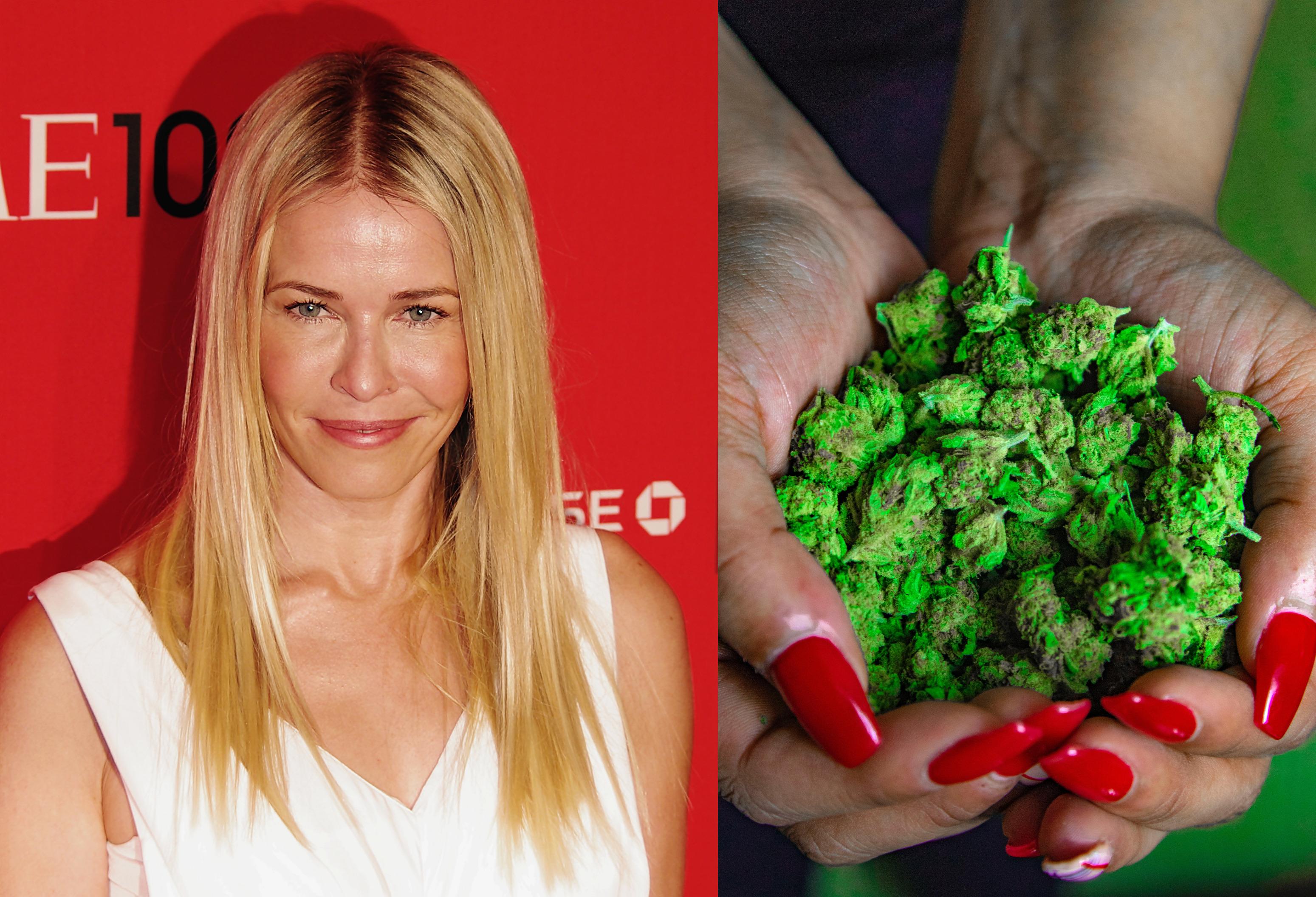 Chelsea Handler and woman holding marijuana buds.