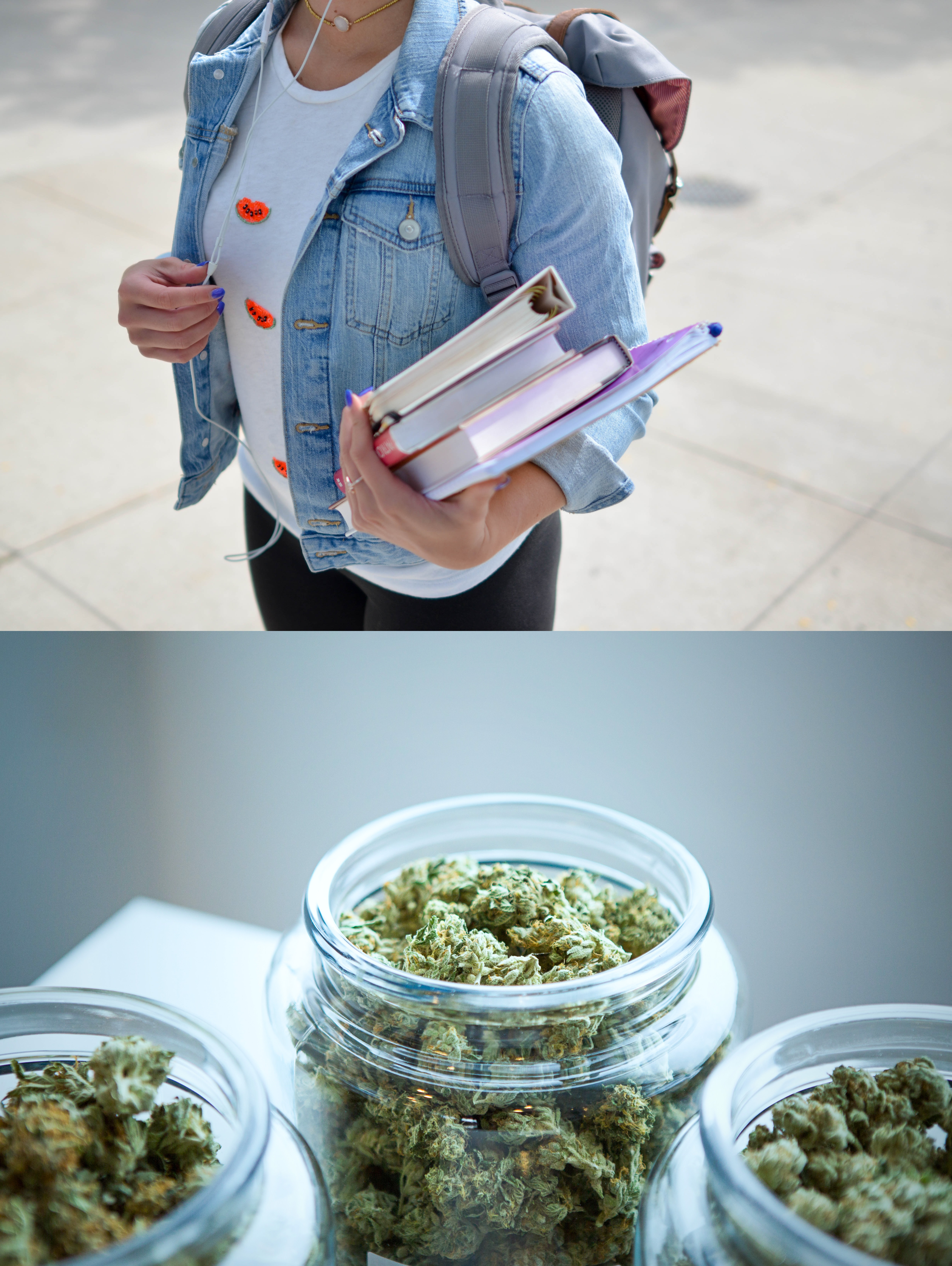 (Top) Student holding books. (Bottom) Jars filled with marijuana flower buds.