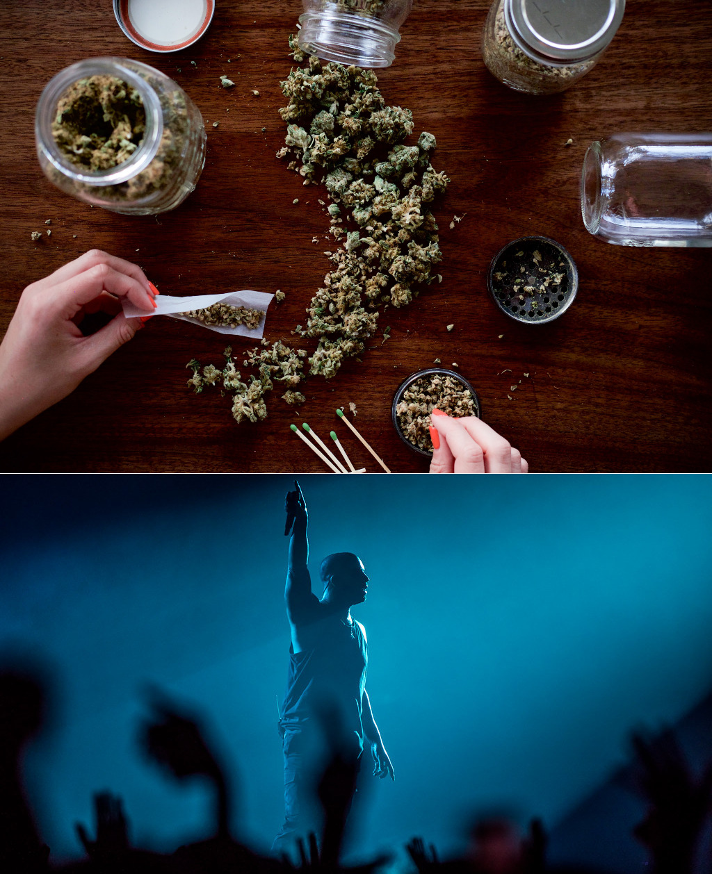 (Top) Jars of marijuana and person rolling a joint. (Bottom) Drake, Telenor Arena 2017.