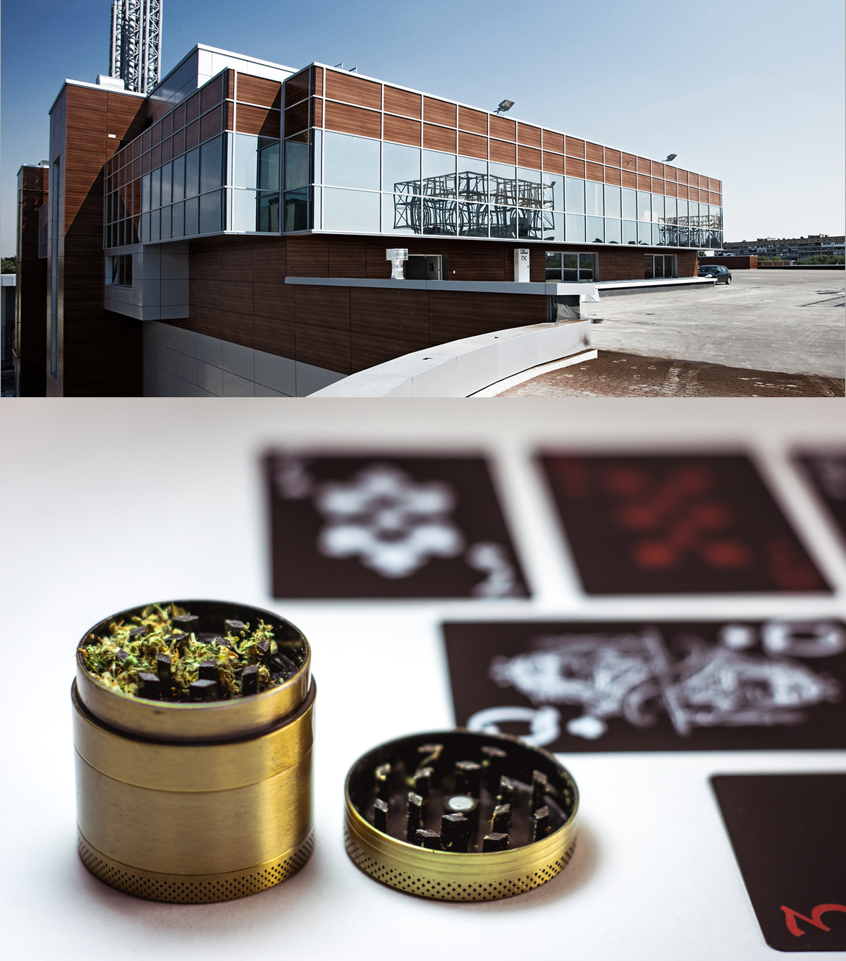 (Top) Cannabis real estate building. (Bottom) Grinder with marijuana.