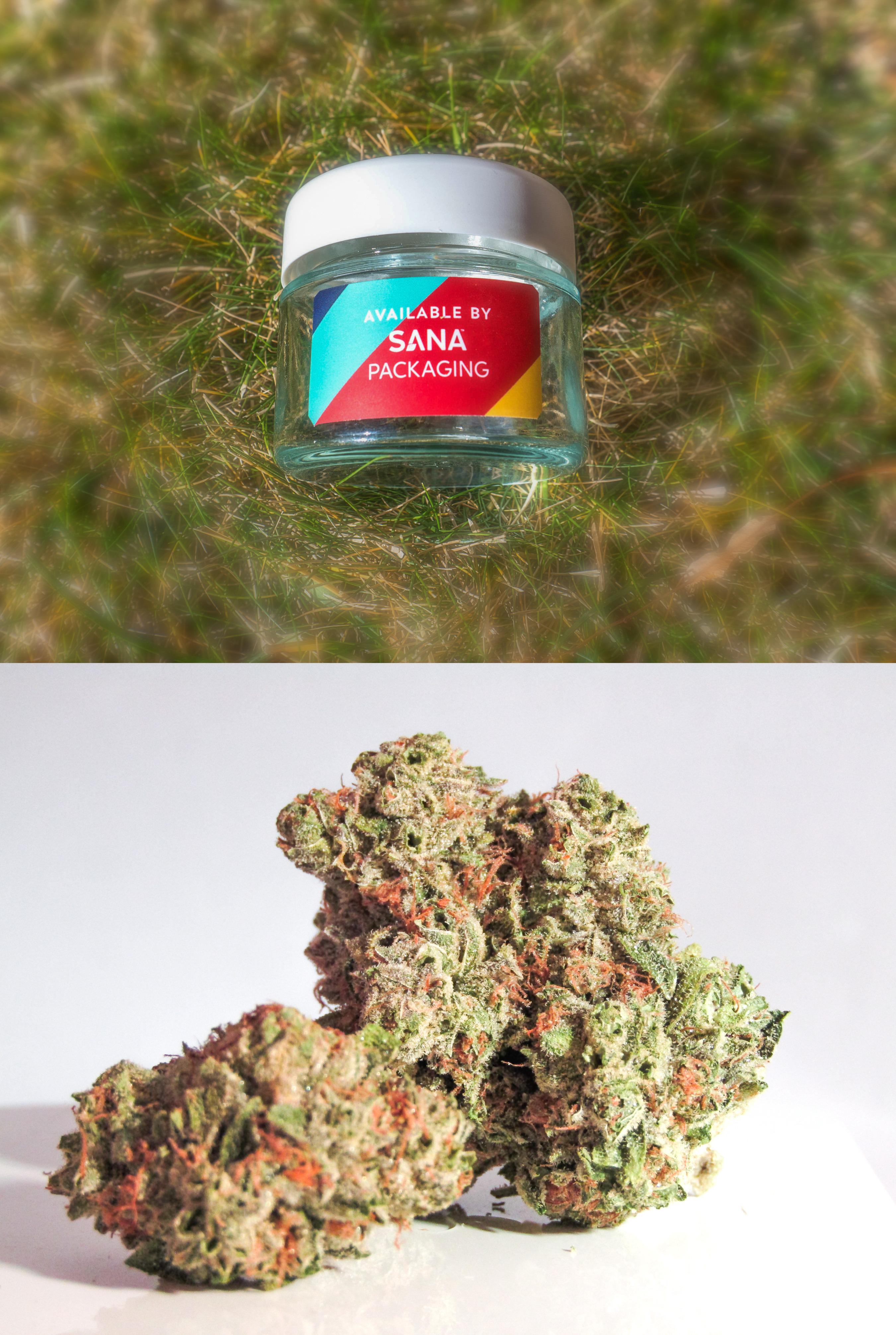 (Top) The Sana Ocean Screw-Top lid and glass jar. (Bottom) Marijuana bud.