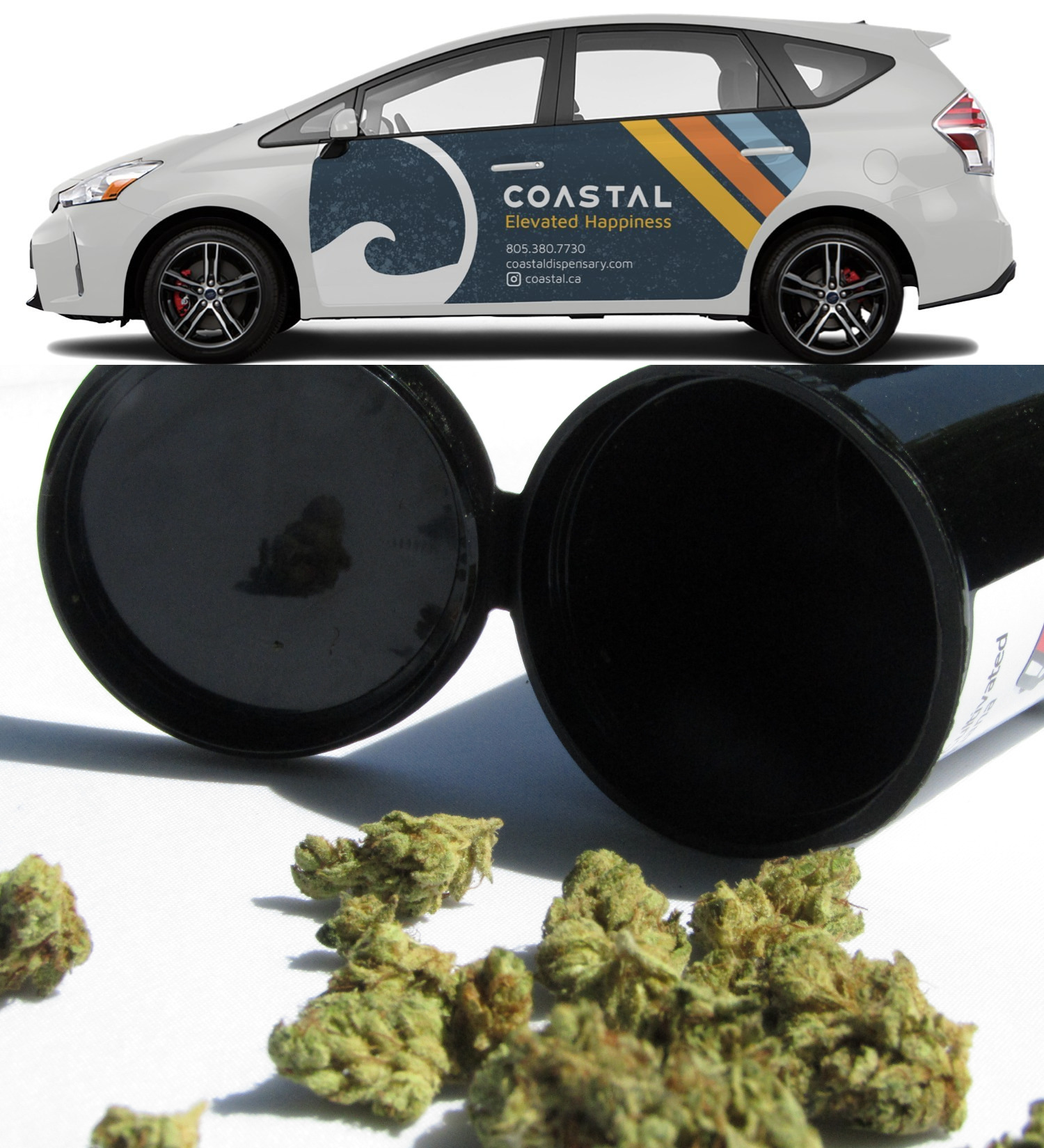 (Top) Coastal delivery car. (Bottom) Marijuana flower buds in black container.