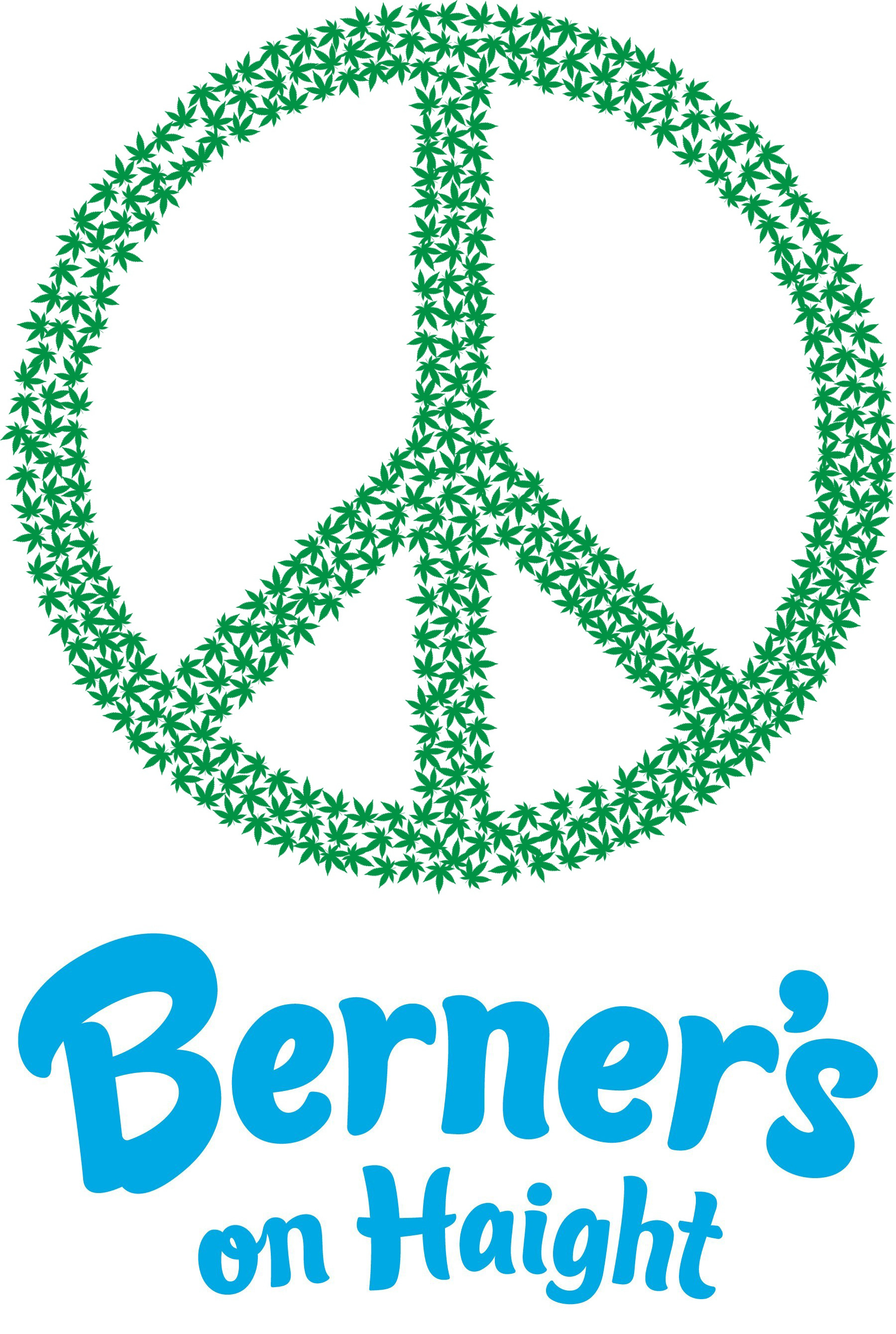 (Top) Peace sign marijuana leaves graphic. (Bottom) Berner's on Haight logo.