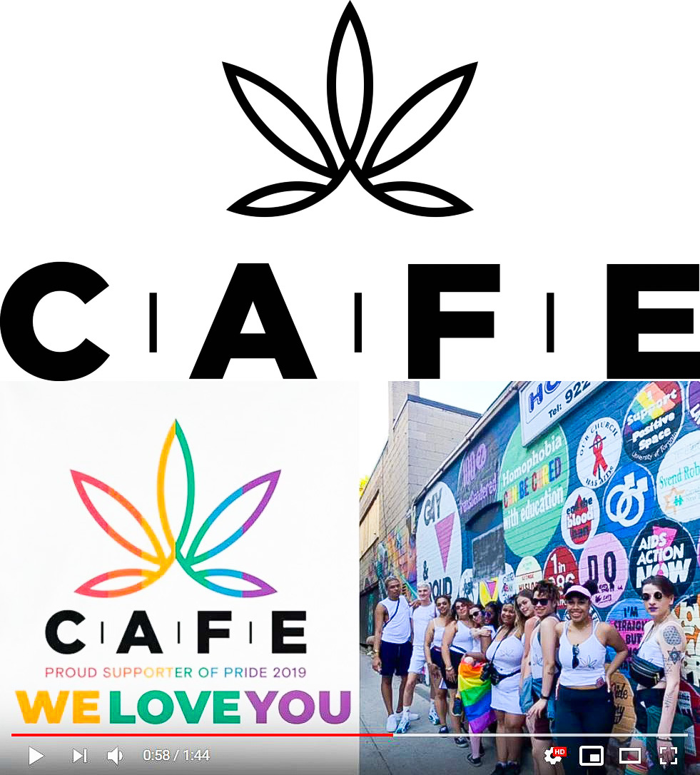 (Top) CAFE logo. (Bottom) CAFE supports Gay Pride 2019.