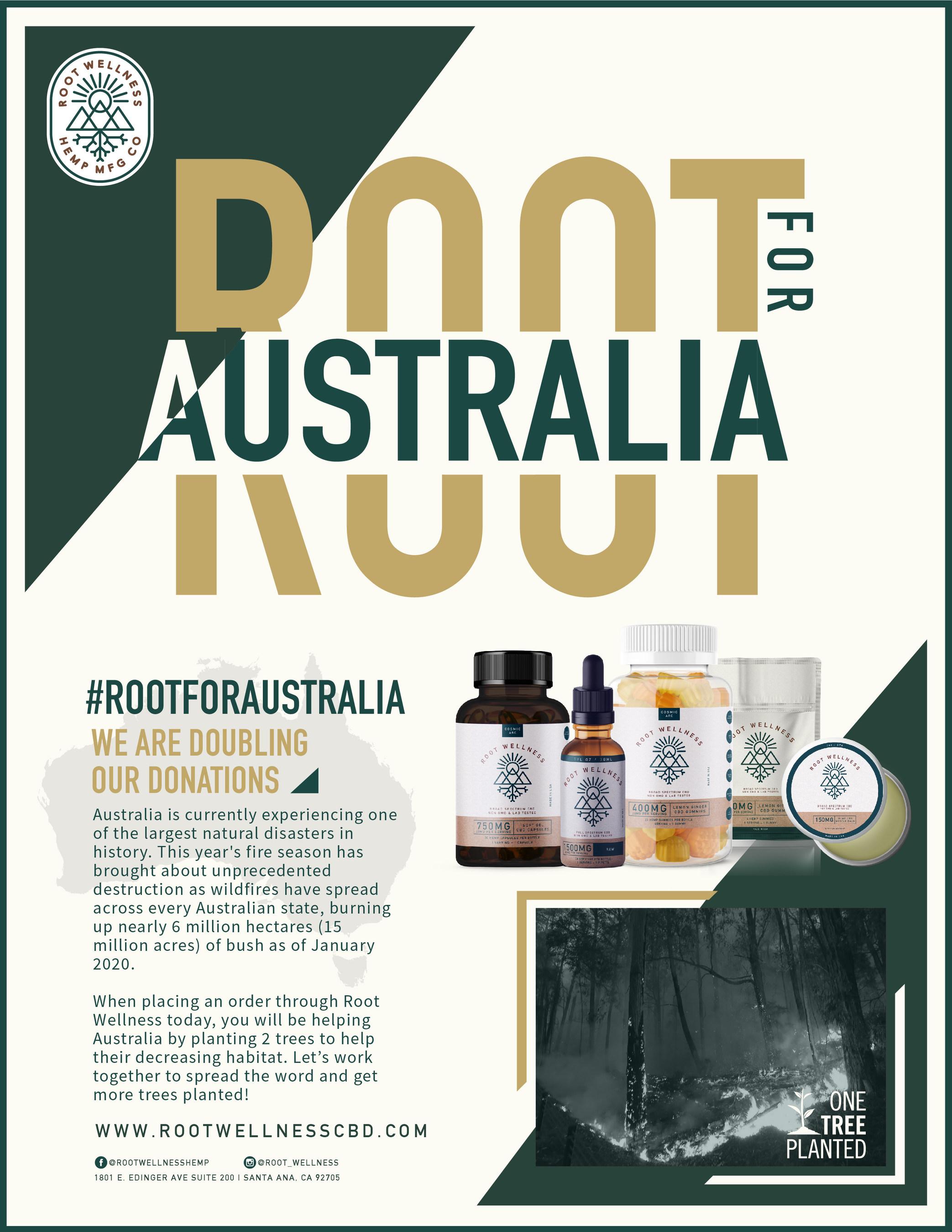 Root Wellness CBD's #ROOTFORAUSTRALIA reforestation campaign.