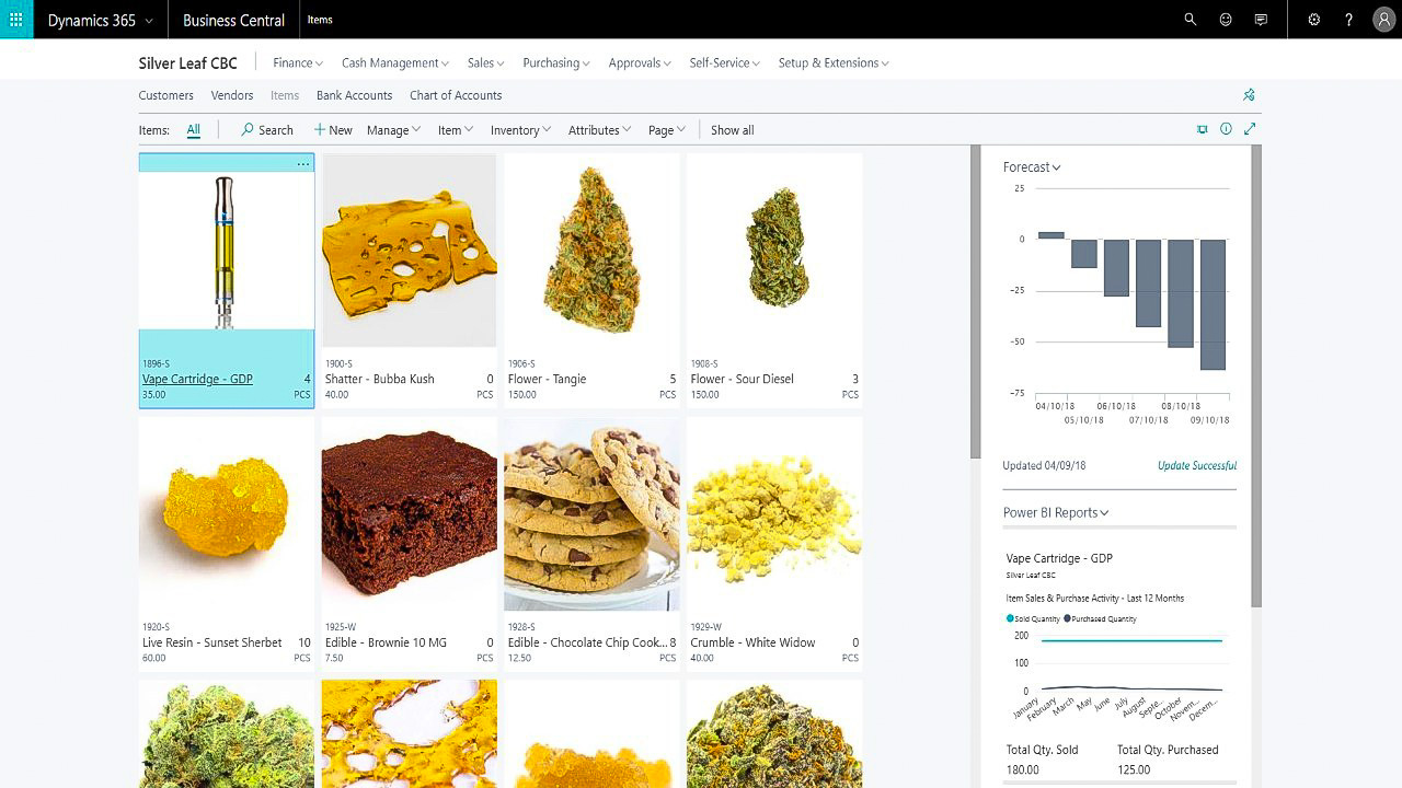 Silver Leaf Cannabis Business Central (CBC) ERP Solution available on Microsoft Dynamics 365 Business Central.