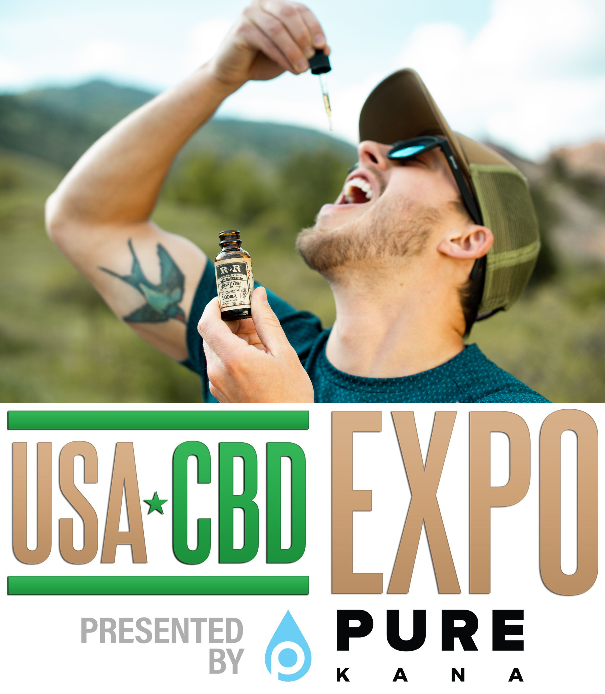 (Top) Man taking CBD hemp extract oil. (Bottom) USA CBD Expo logo.