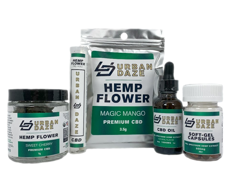 Urban Daze hemp flower and CBD oil/caplets hemp products.