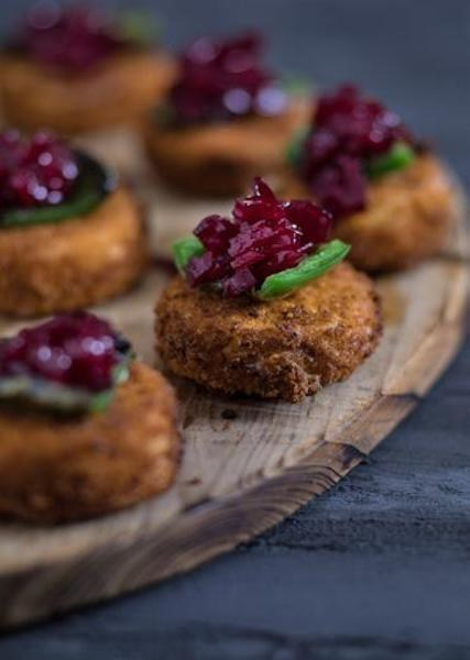 Crispy Goat Cheese with Beet Jam and a Surprise